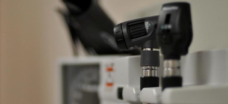 Close-up of a microscopy machine